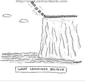 Robert Mankoff : What Lemmings Believe - Cartoonbank.com_1230088780485